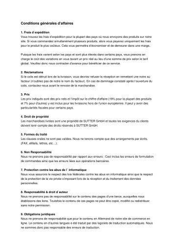 Conditions générales d'affaires - Sutter GmbH