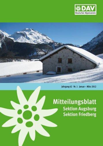 Mitteilungsblatt 2012/1 (PDF, 6,7 MB) - Alpenverein Augsburg