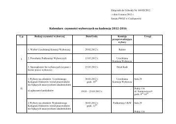 Kalendarz czynności wyborczych na kadencję 2012-2016 - PWSZ w ...