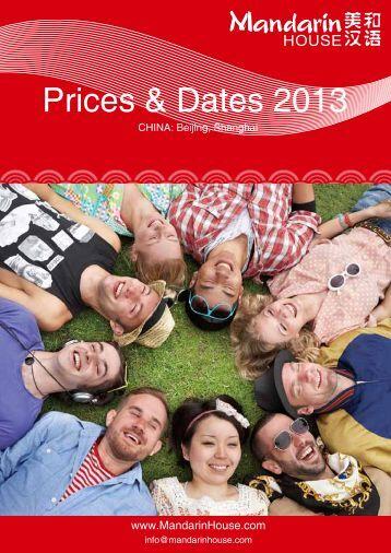 Prices & Dates 2013 - Mandarin House