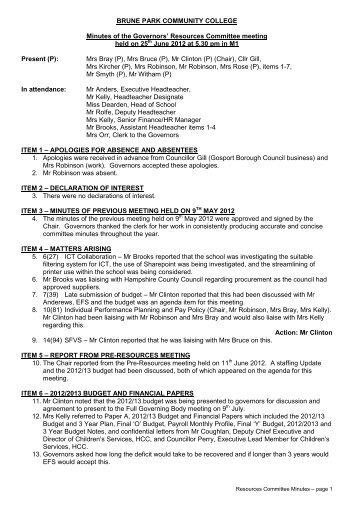 Minutes 25th June 2012 PDF - Brune Park Community College