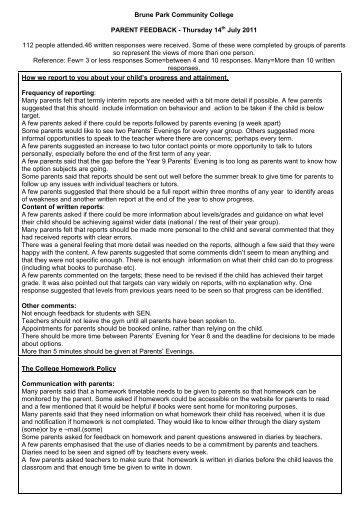 Feedback - 14th July 2011 PDF - Brune Park Community College