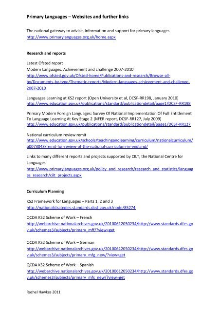 Primary Languages Websites And Further Links Rachel Hawkes