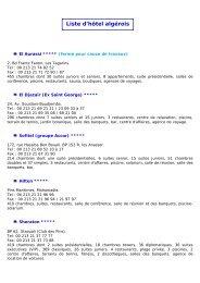 Liste d'hôtel algérois - Pavillon France de la Foire internationale d ...