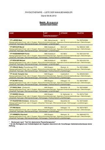 Physiotherapie - Liste der Wahlbehandler