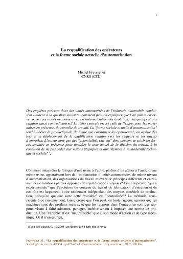 La requalification des opérateurs et la forme ... - Michel Freyssenet