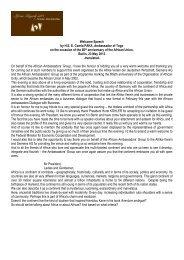 Welcome Speech by HEE Comla PAKA, Ambassador of Togo on the ...