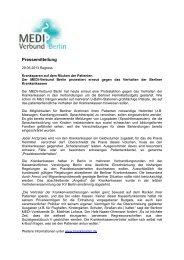 Medi Pressemitteilung 29.05.2013 - beim MEDI-Verbund Berlin