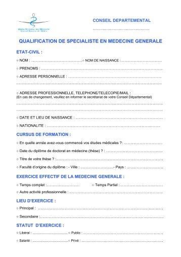 qualification de specialiste en medecine generale - Conseil National ...
