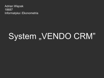 """System """"VENDO CRM"""""""