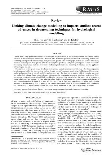 Linking climate change modelling to impacts studies: recent ...