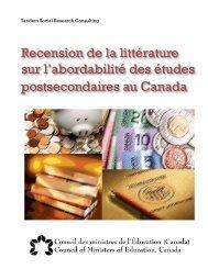 Recension de la littérature sur l'abordabilité des études ...
