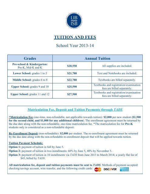 Tuition and Fees for the 2013-2014 School Year - International ...