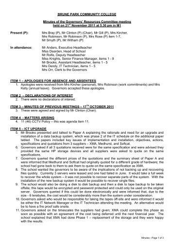 Minutes 21st November 2011 PDF - Brune Park Community College
