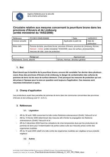 Circulaire relative aux mesures concernant la pourriture brune - Favv