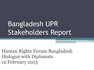 UPR Report Powerpoint Presentation by Sara Hossain - Ain o Salish ...