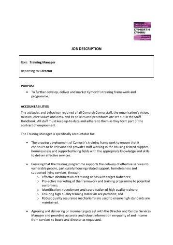 JOB DESCRIPTION - Cymorth Cymru