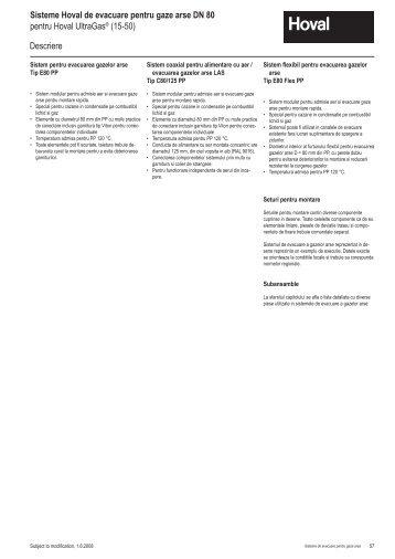 Descriere Sisteme Hoval de evacuare pentru gaze arse DN 80 ...