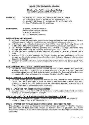 Minutes For 12th September 2011 PDF - Brune Park Community ...