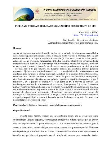 INCLUSÃO: TEORIA E REALIDADE NO MUNICÍPIO DE SÃO ...