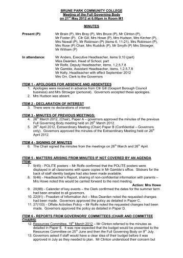 Minutes For 21st May 2012 PDF - Brune Park Community College