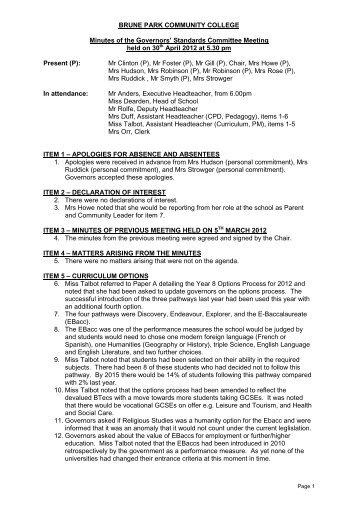 Minutes 30th April 2012 PDF - Brune Park Community College