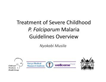 Treatment of Severe Childhood P. Falciparum Malaria ... - iDOC Africa