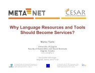 Why Language Resources and Tools Should ... - CESAR project