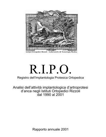 Rendiconto attività Istituto Ortopedico Rizzoli 1990 ... - RIPO - Cineca