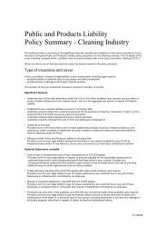 Public and Products Liability Policy Summary - Cleaning Industry
