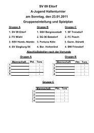 Spiel um Platz Drei - SV 09 Eitorf eV