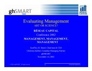 Evaluating Management - Réseau capital