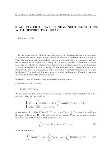 stability criteria of linear neutral systems with ... - Kybernetika