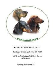 TAXFULLMÄKTIGE 2013 - Svenska Taxklubben