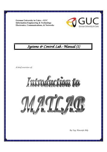 Lab manual for 1 st & 2 nd week - GUC - Faculty of Information ...