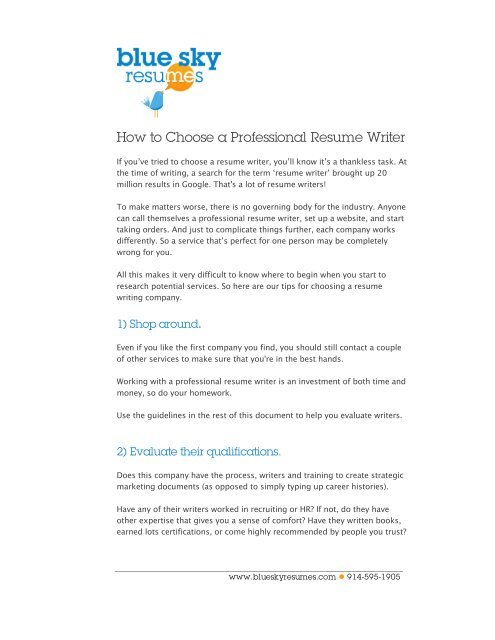 How To Choose A Professional Resume Writer Blue Sky Resumes