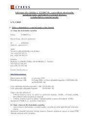 Informace o společnosti CYRRUS k 31. 3. 2008