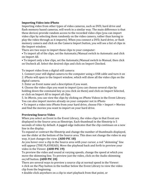 iMovie Tutorial Document - Mypage Web Server