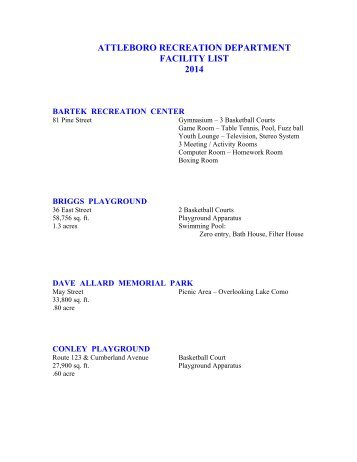 attleboro recreation department facility list 2012 - City of Attleboro