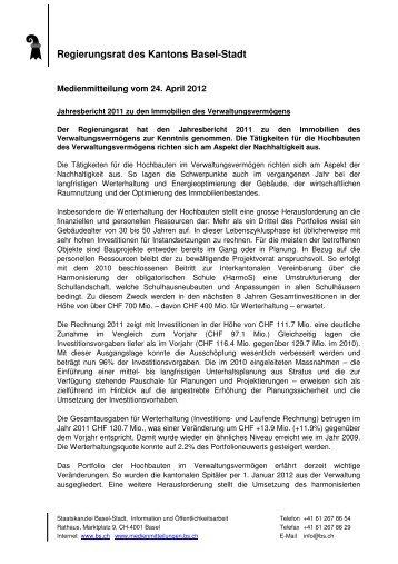 MM Jahresbericht VV 2011 - Immobilien Basel-Stadt - Kanton Basel ...