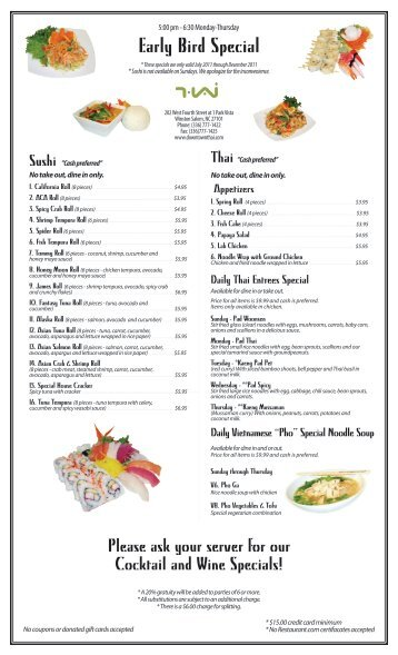 Early Bird Special - Downtown Thai