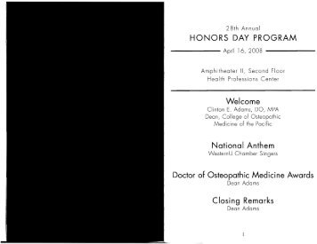 honors day program - Western University of Health Sciences