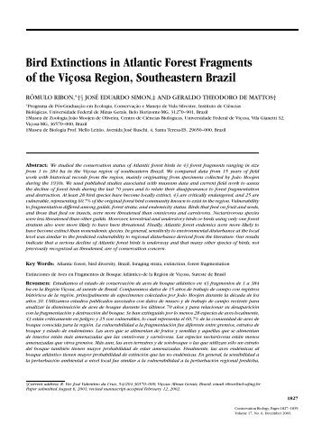 Bird Extinctions in Atlantic Forest Fragments of the Vic¸osa Region ...