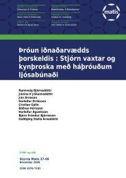 Stjórn vaxtar og kynþroska með háþróuðum ljósabúnaði - Matís