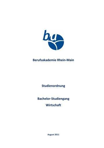 Studienordnung Wirtschaft ab Jahrgang 2011 - Berufsakademie ...
