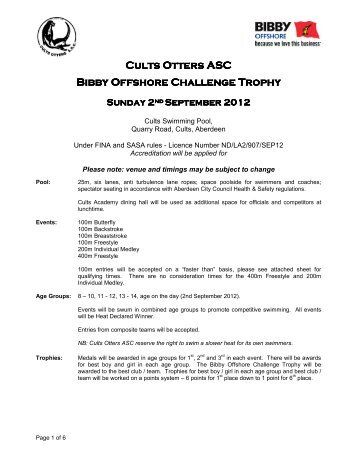 Cults Otters ASC Cults Otters ASC Bibby Offshore ... - Swim Scotland