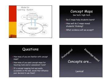 Concept Maps Questions Concepts are...