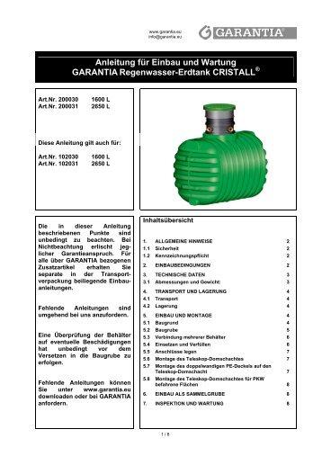 Anleitung für Einbau und Wartung GARANTIA Regenwasser ... - Obi