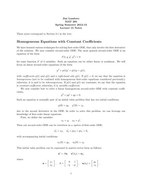 Homogeneous Equations with Constant Coefficients