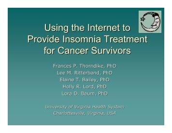 Using the Internet to Provide Insomnia Treatment for Cancer Survivors